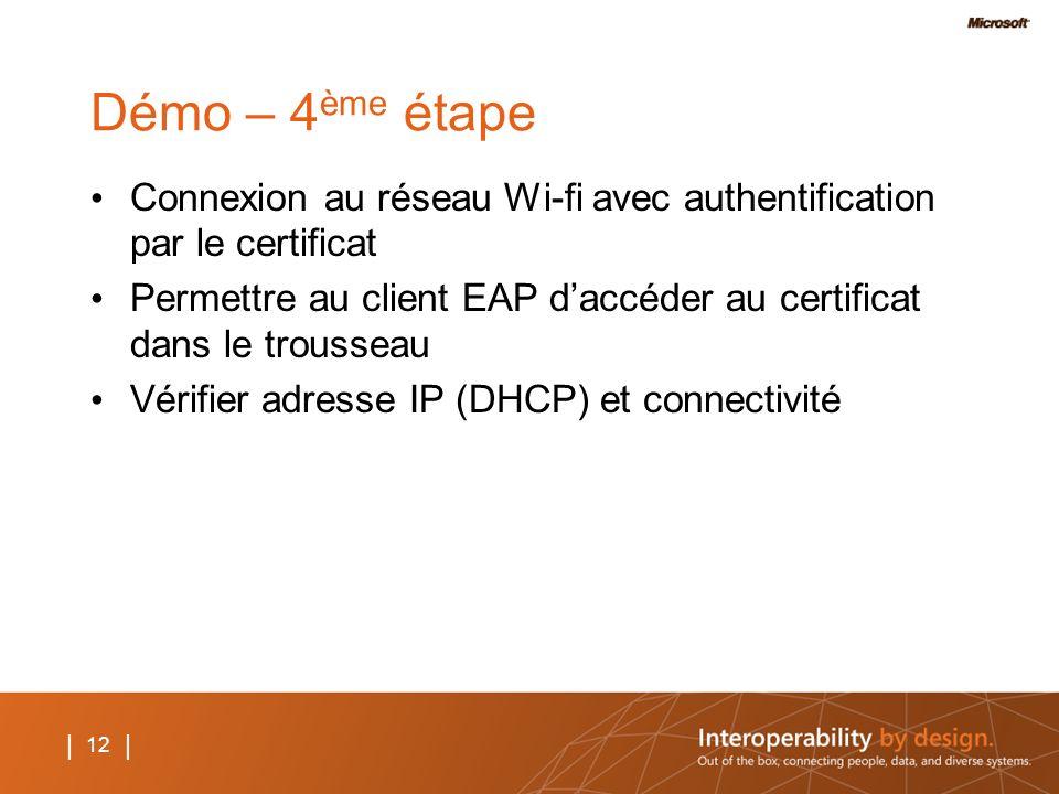 12 | Démo – 4 ème étape Connexion au réseau Wi-fi avec authentification par le certificat Permettre au client EAP daccéder au certificat dans le trous
