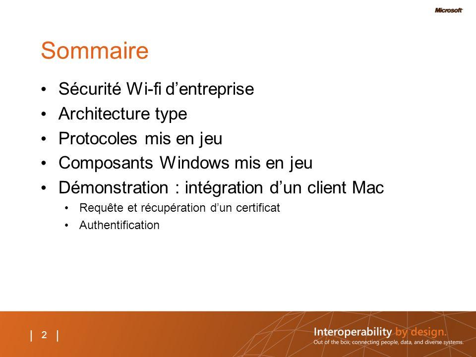 2 | Sommaire Sécurité Wi-fi dentreprise Architecture type Protocoles mis en jeu Composants Windows mis en jeu Démonstration : intégration dun client M