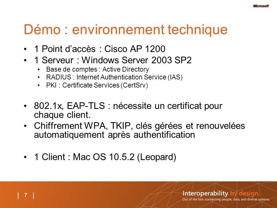 7 | Démo : environnement technique 1 Point daccès : Cisco AP 1200 1 Serveur : Windows Server 2003 SP2 Base de comptes : Active Directory RADIUS : Inte