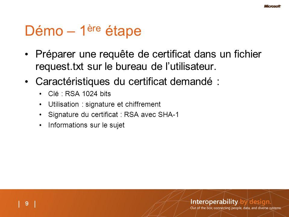 9 | Démo – 1 ère étape Préparer une requête de certificat dans un fichier request.txt sur le bureau de lutilisateur. Caractéristiques du certificat de