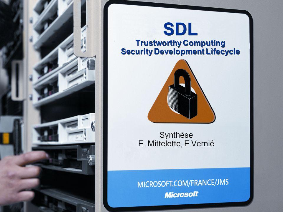 SDL Trustworthy Computing Security Development Lifecycle Synthèse E. Mittelette, E Vernié