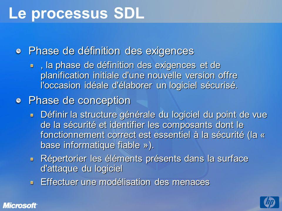 Le processus SDL Phase de définition des exigences, la phase de définition des exigences et de planification initiale d une nouvelle version offre l occasion idéale d élaborer un logiciel sécurisé.