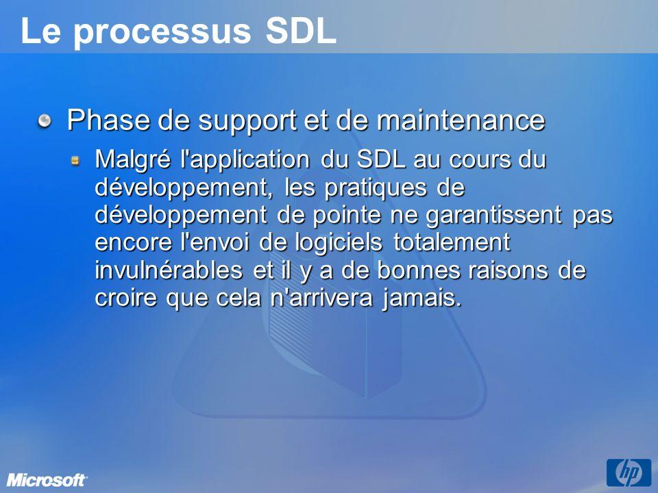 Le processus SDL Phase de support et de maintenance Malgré l application du SDL au cours du développement, les pratiques de développement de pointe ne garantissent pas encore l envoi de logiciels totalement invulnérables et il y a de bonnes raisons de croire que cela n arrivera jamais.