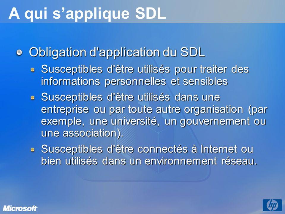 A qui sapplique SDL Obligation d application du SDL Susceptibles d être utilisés pour traiter des informations personnelles et sensibles Susceptibles d être utilisés dans une entreprise ou par toute autre organisation (par exemple, une université, un gouvernement ou une association).