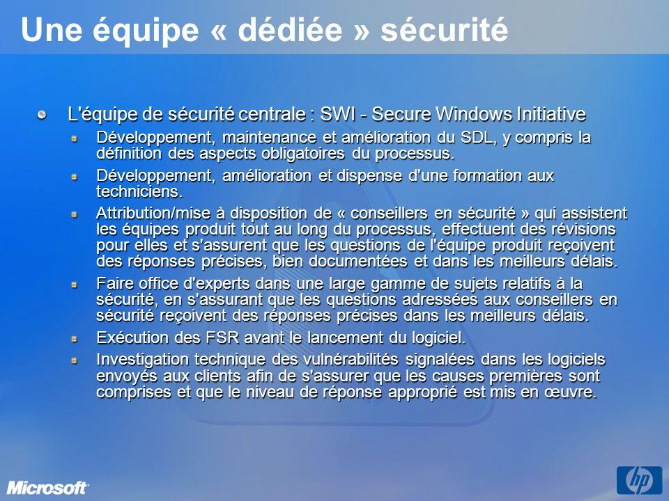 Une équipe « dédiée » sécurité L équipe de sécurité centrale : SWI - Secure Windows Initiative Développement, maintenance et amélioration du SDL, y compris la définition des aspects obligatoires du processus.