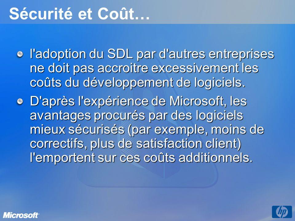 Sécurité et Coût… l adoption du SDL par d autres entreprises ne doit pas accroitre excessivement les coûts du développement de logiciels.