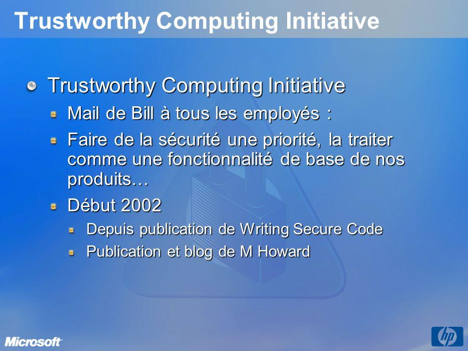 Trustworthy Computing Initiative Mail de Bill à tous les employés : Faire de la sécurité une priorité, la traiter comme une fonctionnalité de base de nos produits… Début 2002 Depuis publication de Writing Secure Code Publication et blog de M Howard