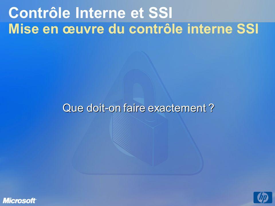 Contrôle Interne et SSI Mise en œuvre du contrôle interne SSI Que doit-on faire exactement ?