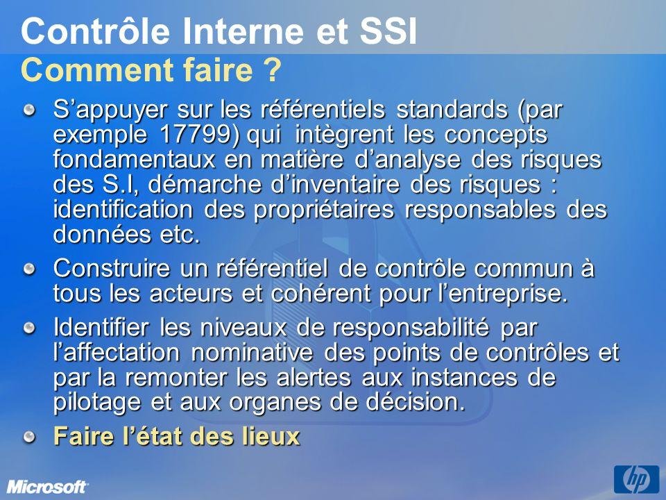 Contrôle Interne et SSI Comment faire ? Sappuyer sur les référentiels standards (par exemple 17799) qui intègrent les concepts fondamentaux en matière