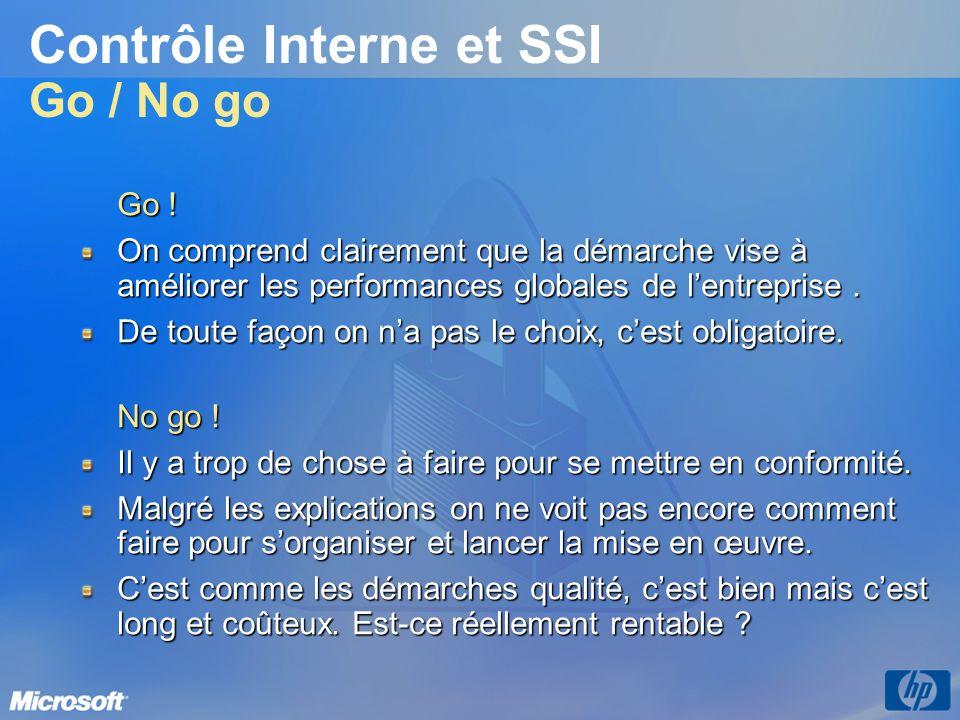 Contrôle Interne et SSI Go / No go Go ! On comprend clairement que la démarche vise à améliorer les performances globales de lentreprise. De toute faç