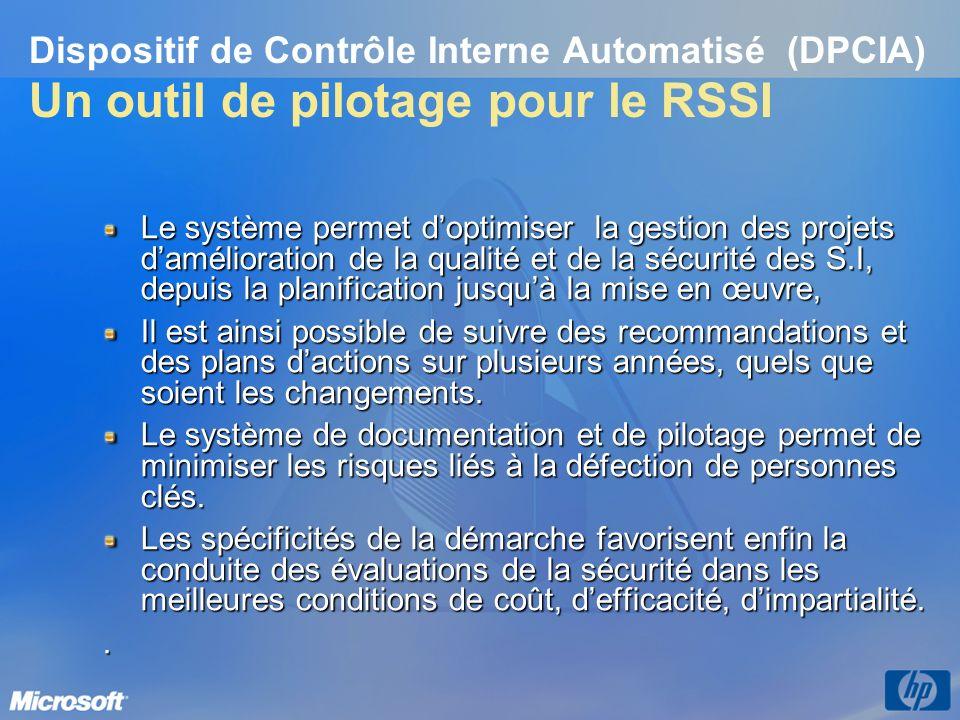 Dispositif de Contrôle Interne Automatisé (DPCIA) Un outil de pilotage pour le RSSI Le système permet doptimiser la gestion des projets damélioration