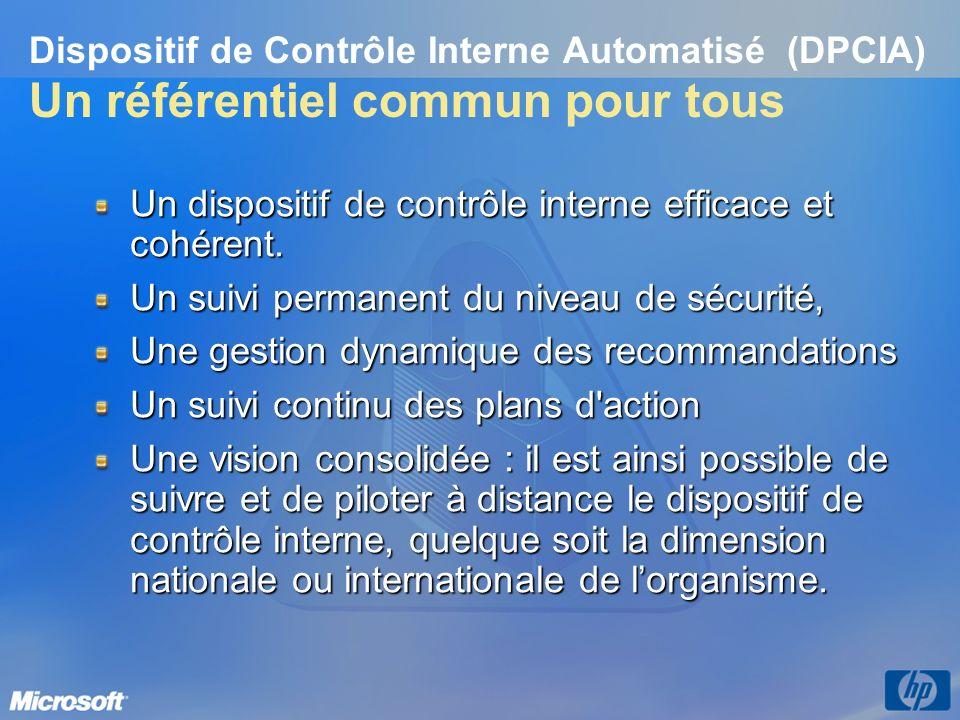 Dispositif de Contrôle Interne Automatisé (DPCIA) Un référentiel commun pour tous Un dispositif de contrôle interne efficace et cohérent. Un suivi per