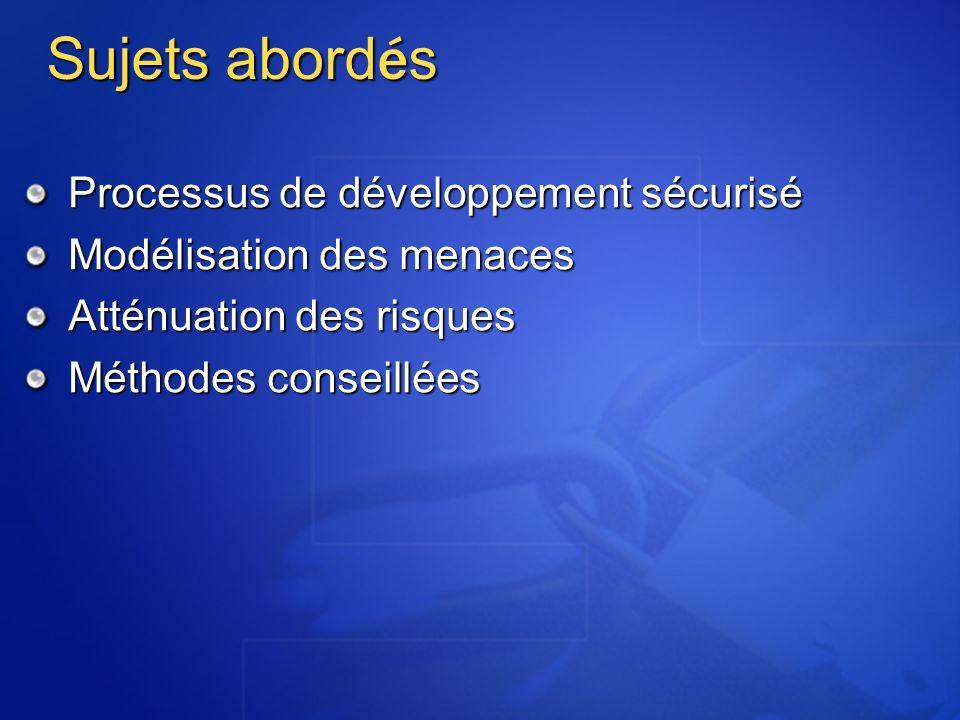 Sujets abord é s Processus de développement sécurisé Modélisation des menaces Atténuation des risques Méthodes conseillées
