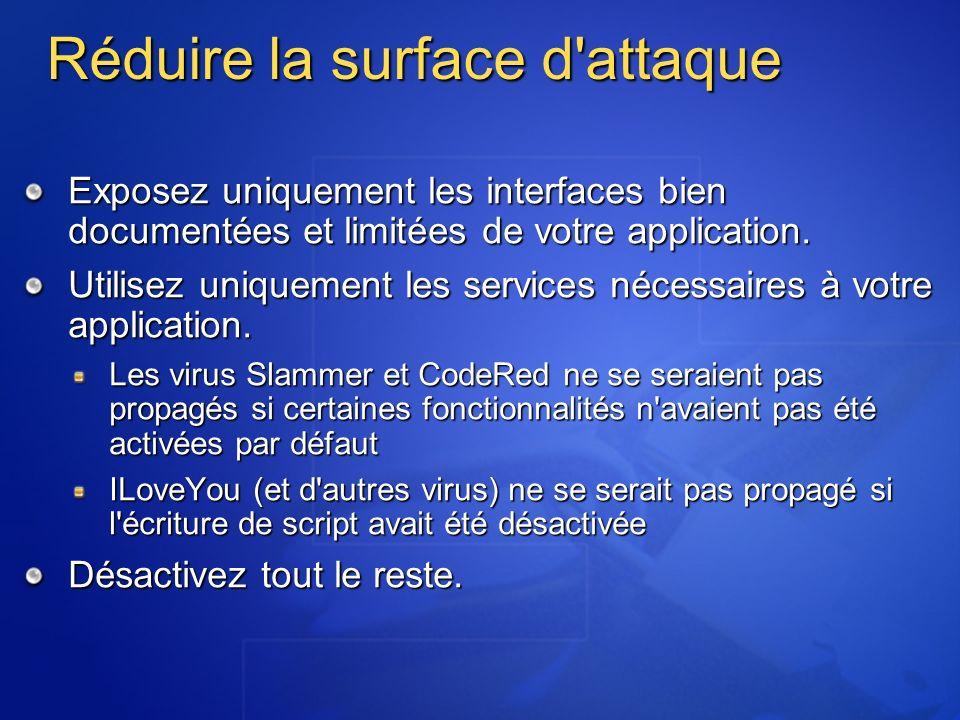 Réduire la surface d'attaque Exposez uniquement les interfaces bien documentées et limitées de votre application. Utilisez uniquement les services néc