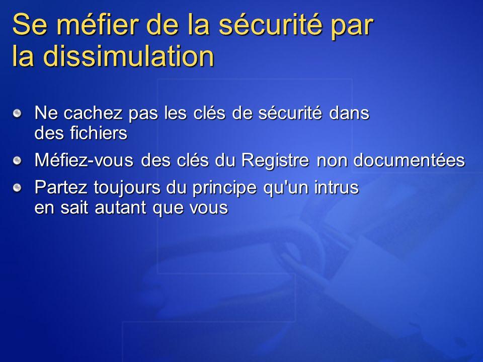 Se méfier de la sécurité par la dissimulation Ne cachez pas les clés de sécurité dans des fichiers Méfiez-vous des clés du Registre non documentées Partez toujours du principe qu un intrus en sait autant que vous