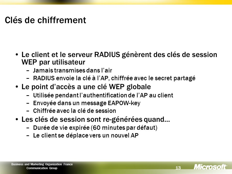 13 Business and Marketing Organization France Communication Group Clés de chiffrement Le client et le serveur RADIUS génèrent des clés de session WEP