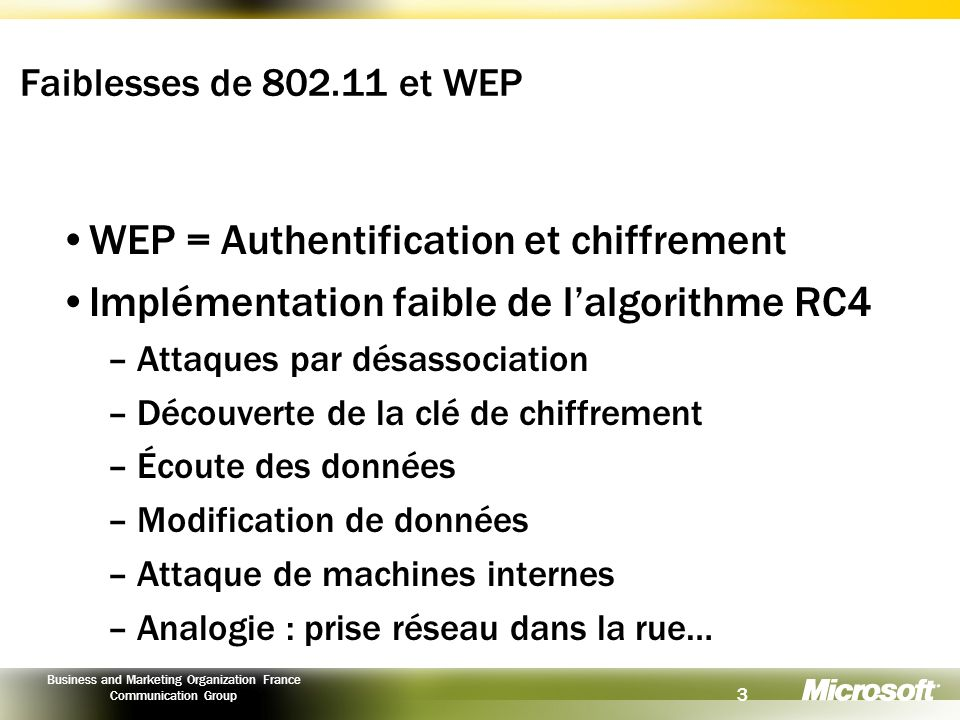 3 Business and Marketing Organization France Communication Group Faiblesses de 802.11 et WEP WEP = Authentification et chiffrement Implémentation faib