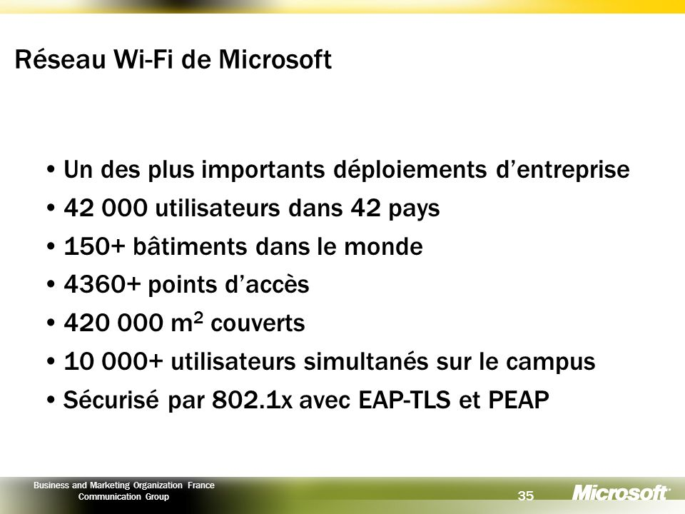 35 Business and Marketing Organization France Communication Group Réseau Wi-Fi de Microsoft Un des plus importants déploiements dentreprise 42 000 uti