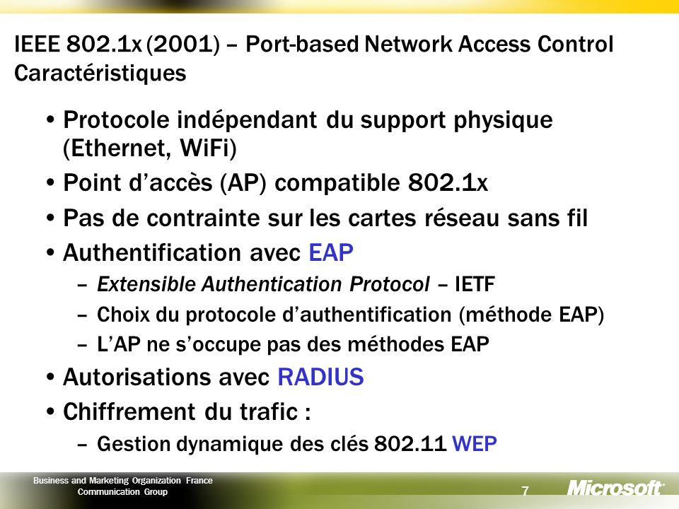 7 Business and Marketing Organization France Communication Group IEEE 802.1x (2001) – Port-based Network Access Control Caractéristiques Protocole ind
