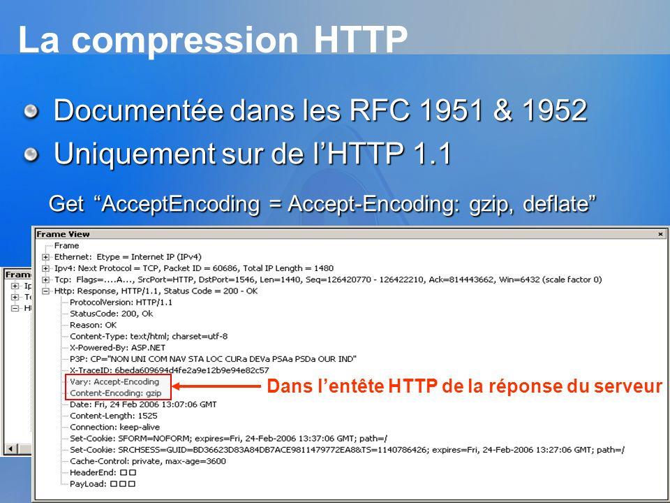 La compression HTTP Documentée dans les RFC 1951 & 1952 Uniquement sur de lHTTP 1.1 Get AcceptEncoding = Accept-Encoding: gzip, deflate Get AcceptEnco