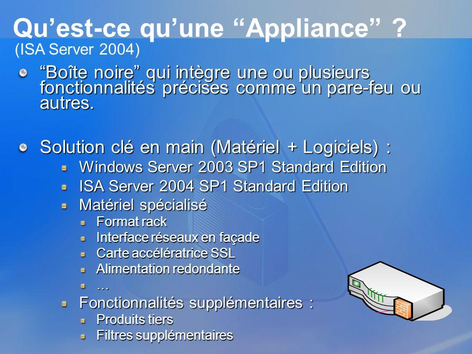 Anatomie dune appliance Filtrage applicatif AntivirusAuthentification Contrôle dURLs AccélérateursSSL Reporting Haute disponibilité Plus de partenaires : http://www.microsoft.com/isaserver/partners/default.aspAppliances