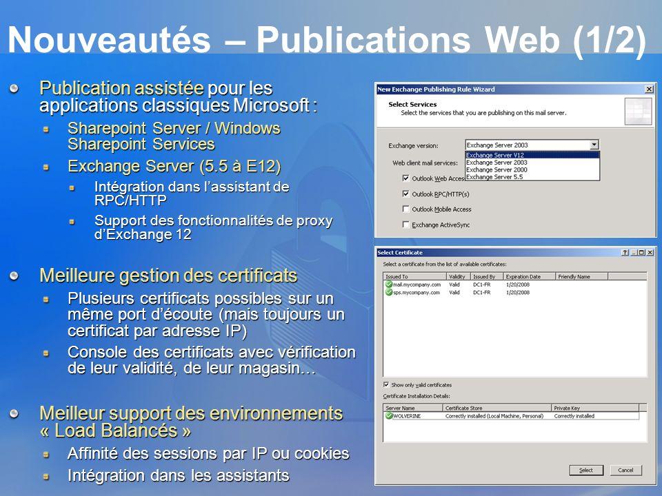 Nouveautés – Publications Web (1/2) Publication assistée pour les applications classiques Microsoft : Sharepoint Server / Windows Sharepoint Services