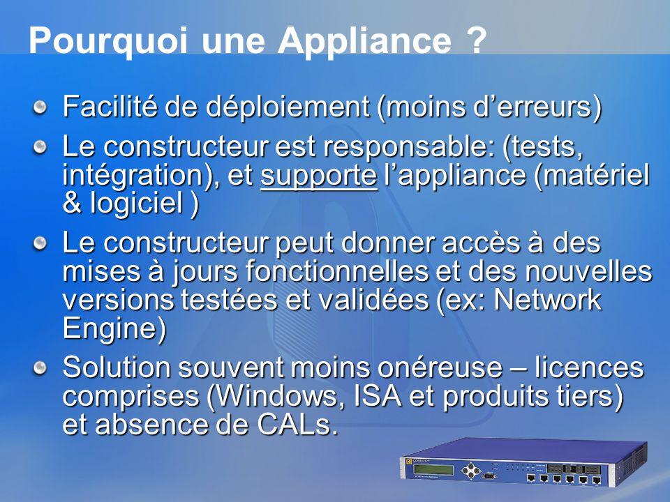 Pourquoi une Appliance ? Facilité de déploiement (moins derreurs) Le constructeur est responsable: (tests, intégration), et supporte lappliance (matér