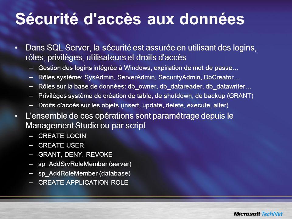 Sécurité d accès aux données Dans SQL Server, la sécurité est assurée en utilisant des logins, rôles, privilèges, utilisateurs et droits d accès –Gestion des logins intégrée à Windows, expiration de mot de passe… –Rôles système: SysAdmin, ServerAdmin, SecurityAdmin, DbCreator… –Rôles sur la base de données: db_owner, db_datareader, db_datawriter… –Privilèges système de création de table, de shutdown, de backup (GRANT) –Droits d accès sur les objets (insert, update, delete, execute, alter) L ensemble de ces opérations sont paramétrage depuis le Management Studio ou par script –CREATE LOGIN –CREATE USER –GRANT, DENY, REVOKE –sp_AddSrvRoleMember (server) –sp_AddRoleMember (database) –CREATE APPLICATION ROLE
