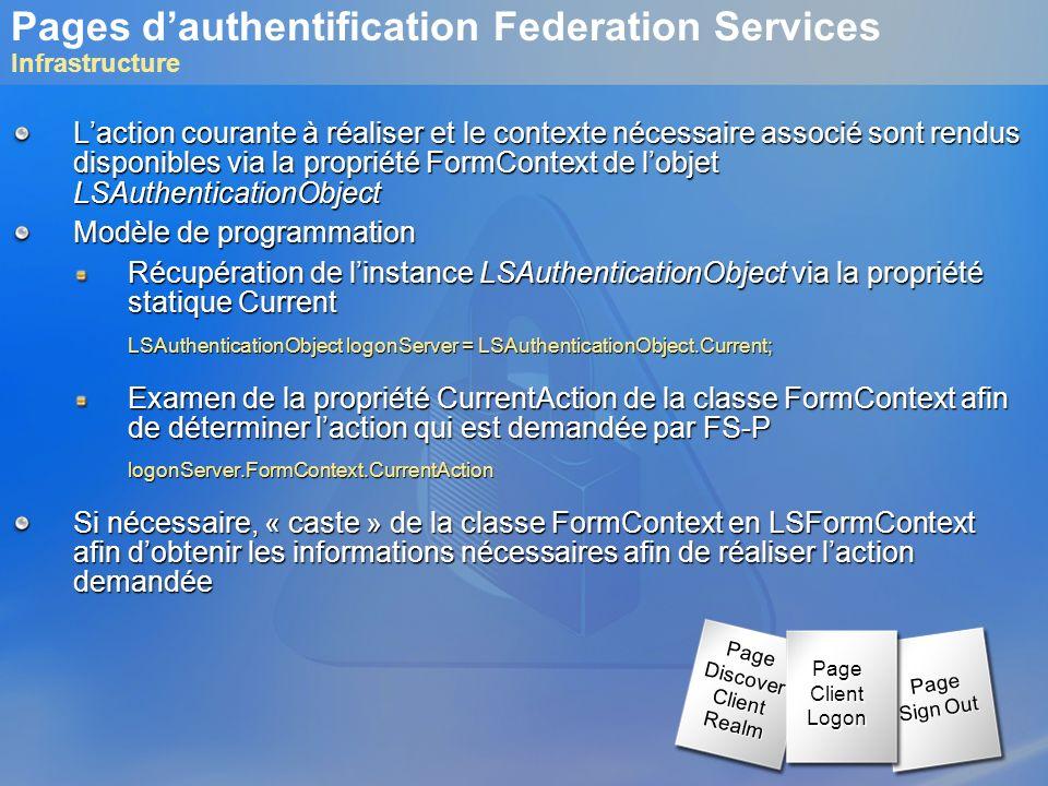 Pages dauthentification Federation Services Infrastructure Laction courante à réaliser et le contexte nécessaire associé sont rendus disponibles via l