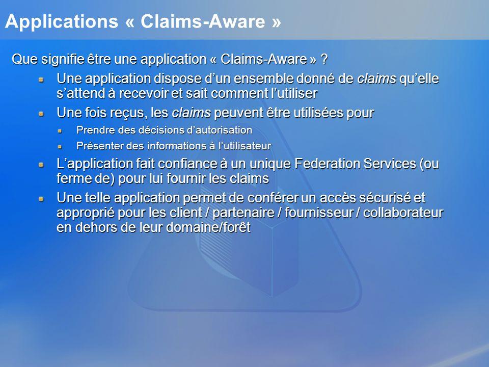 Applications « Claims-Aware » Que signifie être une application « Claims-Aware » ? Une application dispose dun ensemble donné de claims quelle sattend