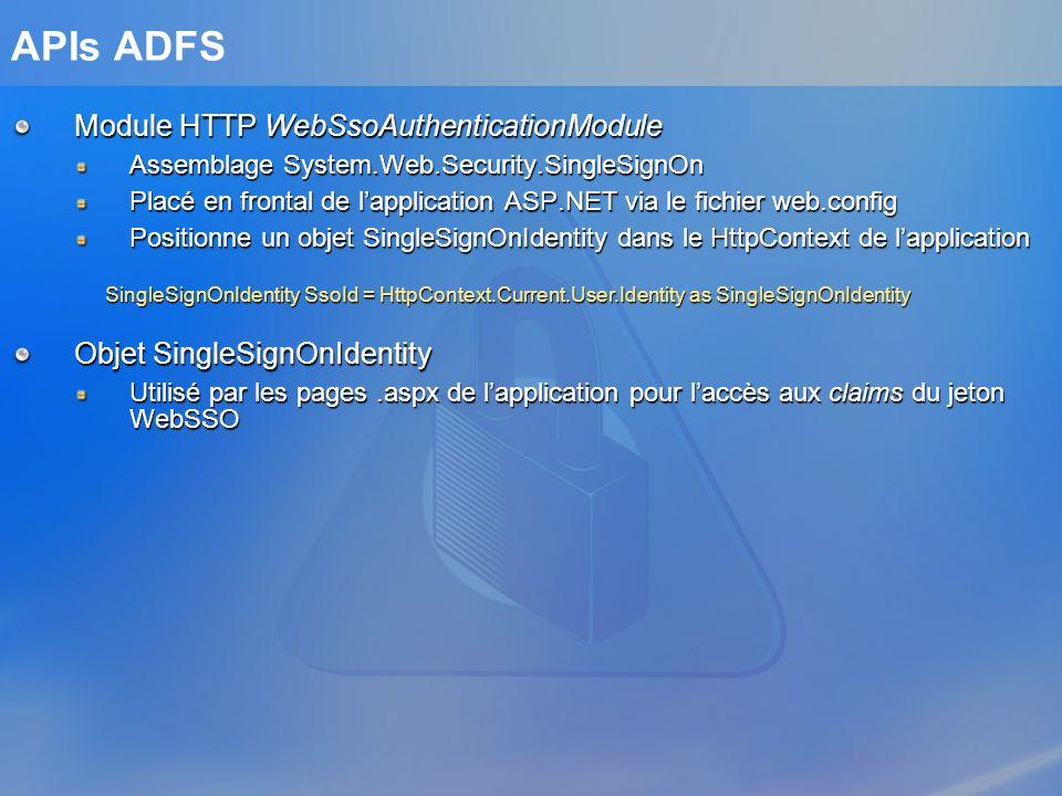 APIs ADFS Module HTTP WebSsoAuthenticationModule Assemblage System.Web.Security.SingleSignOn Placé en frontal de lapplication ASP.NET via le fichier w