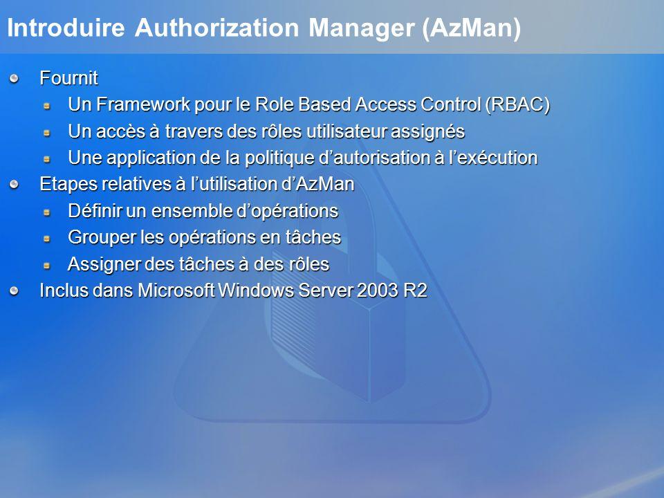 Fournit Un Framework pour le Role Based Access Control (RBAC) Un accès à travers des rôles utilisateur assignés Une application de la politique dautor