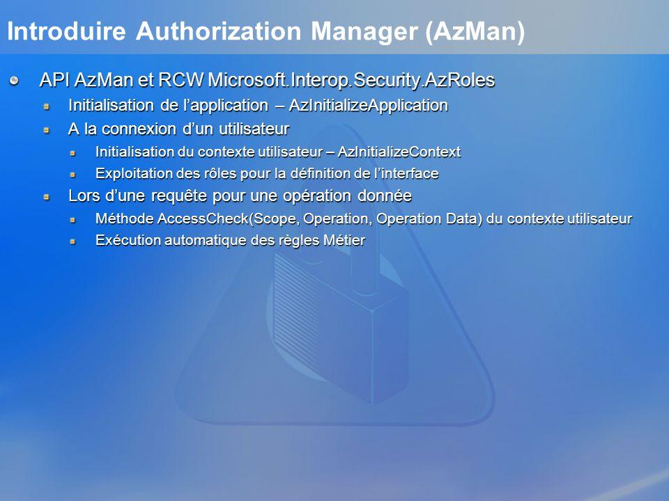 API AzMan et RCW Microsoft.Interop.Security.AzRoles Initialisation de lapplication – AzInitializeApplication A la connexion dun utilisateur Initialisa