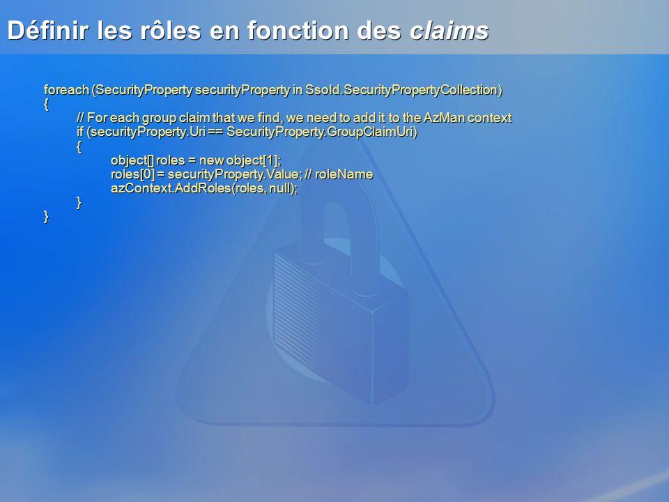 Définir les rôles en fonction des claims foreach (SecurityProperty securityProperty in SsoId.SecurityPropertyCollection) { // For each group claim tha