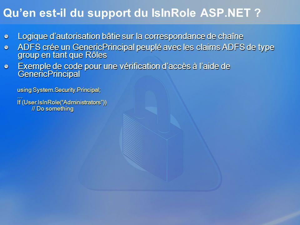 Quen est-il du support du IsInRole ASP.NET ? Logique dautorisation bâtie sur la correspondance de chaîne ADFS crée un GenericPrincipal peuplé avec les