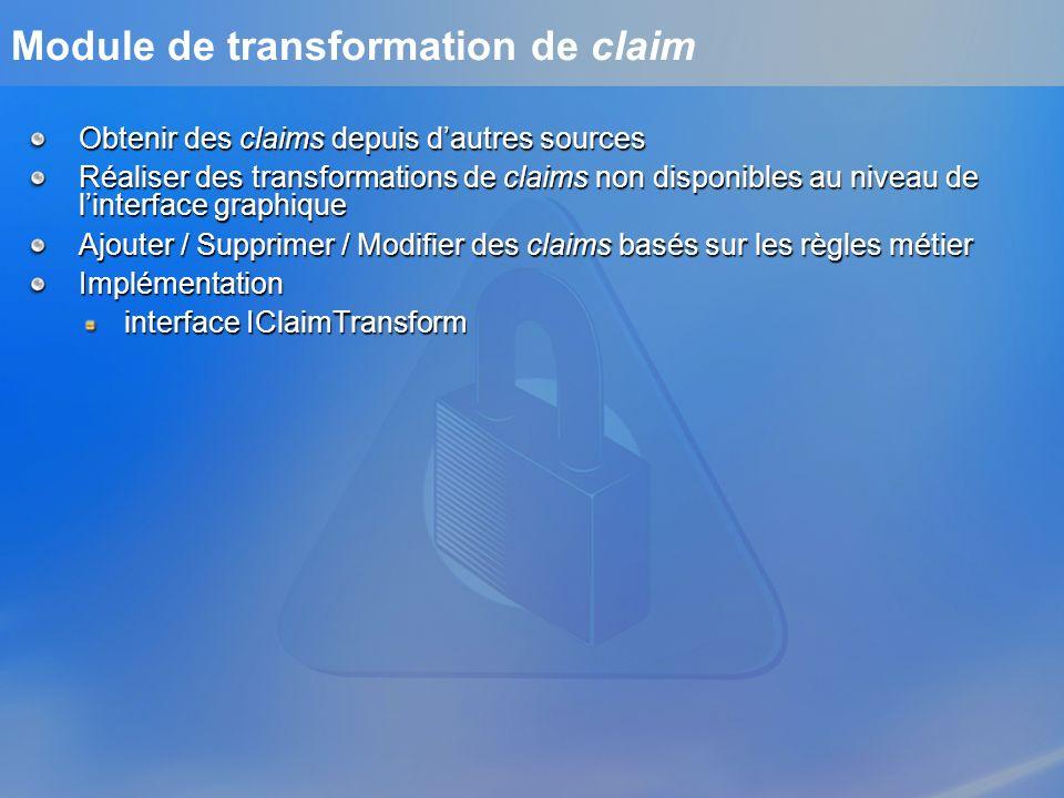 Module de transformation de claim Obtenir des claims depuis dautres sources Réaliser des transformations de claims non disponibles au niveau de linter