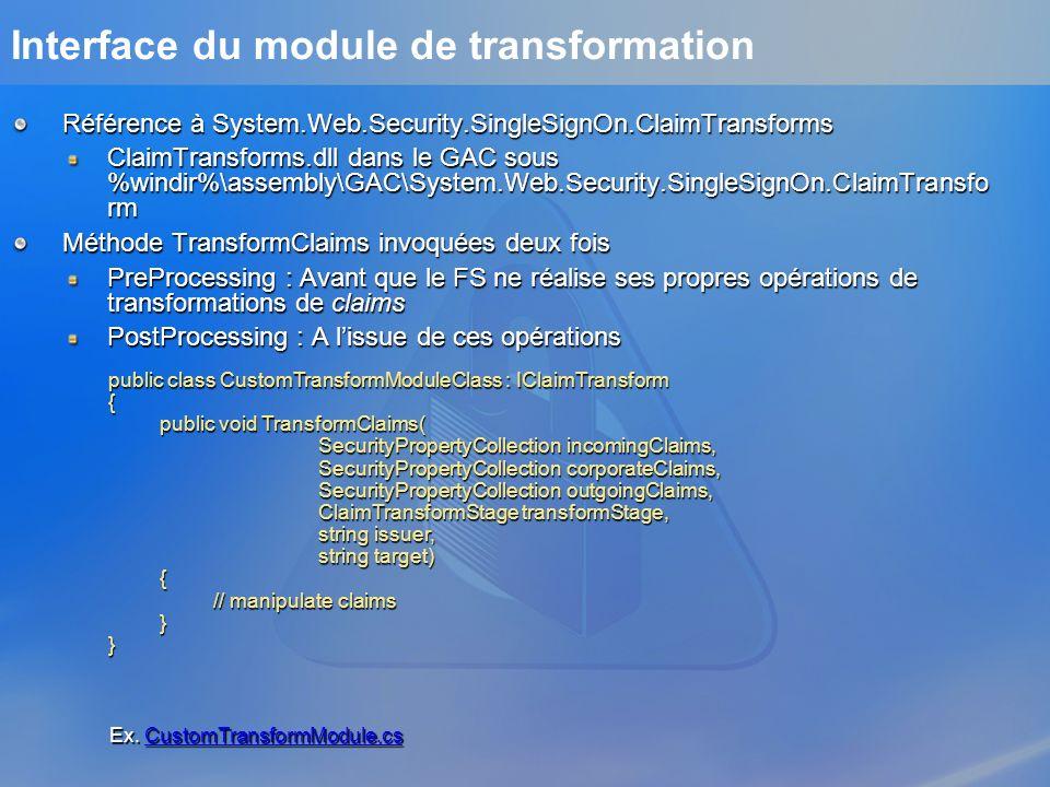 Interface du module de transformation Référence à System.Web.Security.SingleSignOn.ClaimTransforms ClaimTransforms.dll dans le GAC sous %windir%\assem