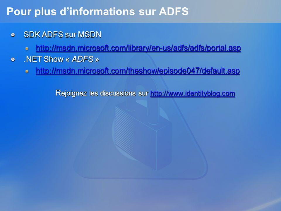 Pour plus dinformations sur ADFS SDK ADFS sur MSDN http://msdn.microsoft.com/library/en-us/adfs/adfs/portal.asp.NET Show « ADFS » http://msdn.microsof