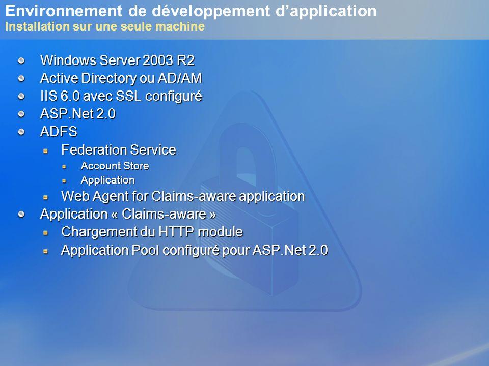 Environnement de développement dapplication Installation sur une seule machine Windows Server 2003 R2 Active Directory ou AD/AM IIS 6.0 avec SSL confi