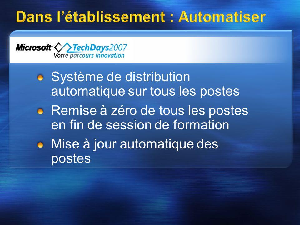 Dans létablissement : Automatiser Système de distribution automatique sur tous les postes Remise à zéro de tous les postes en fin de session de formation Mise à jour automatique des postes