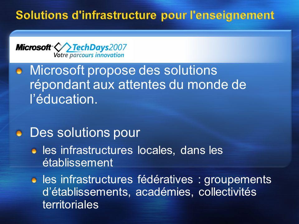 Solutions d infrastructure pour l enseignement Microsoft propose des solutions répondant aux attentes du monde de léducation.