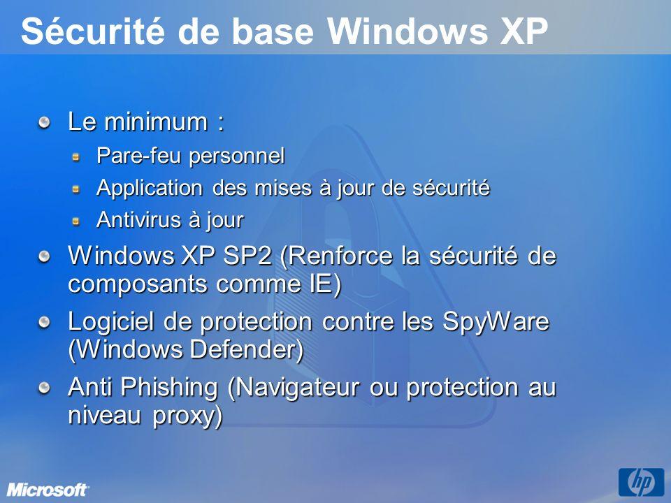 Sécurité de base Windows XP Le minimum : Pare-feu personnel Application des mises à jour de sécurité Antivirus à jour Windows XP SP2 (Renforce la sécu