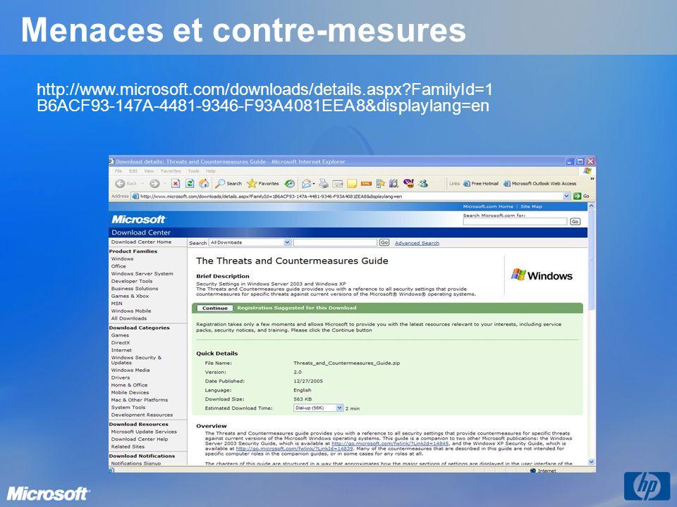 Menaces et contre-mesures http://www.microsoft.com/downloads/details.aspx?FamilyId=1 B6ACF93-147A-4481-9346-F93A4081EEA8&displaylang=en