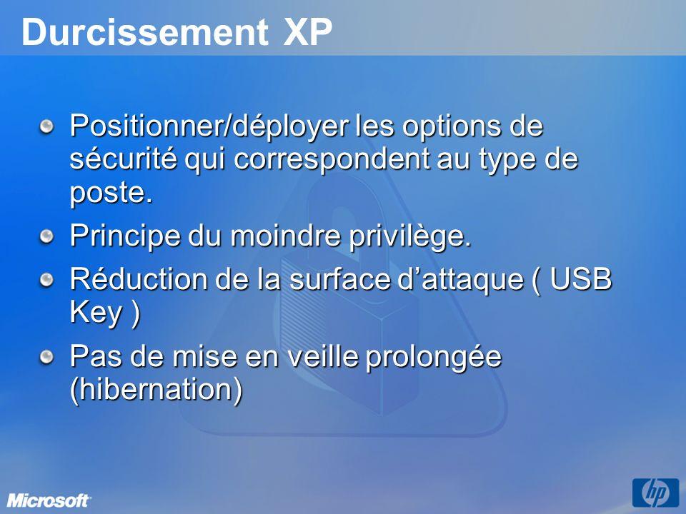 Durcissement XP Positionner/déployer les options de sécurité qui correspondent au type de poste. Principe du moindre privilège. Réduction de la surfac