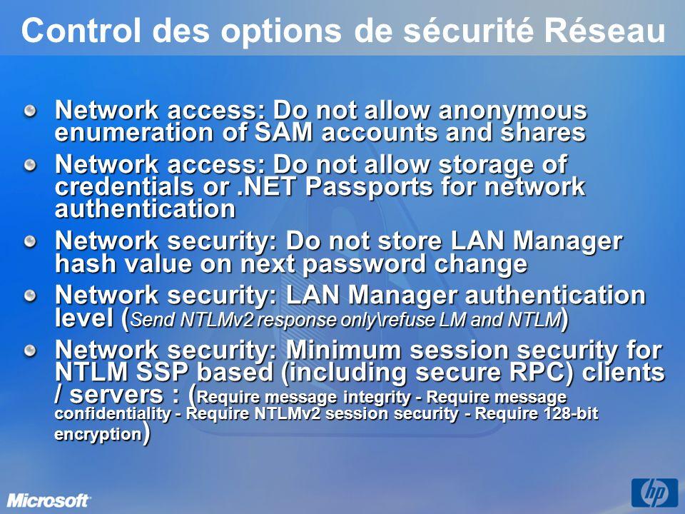 Control des options de sécurité Réseau Network access: Do not allow anonymous enumeration of SAM accounts and shares Network access: Do not allow stor