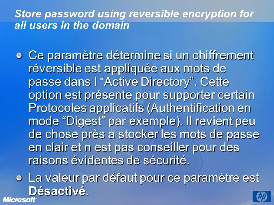 Store password using reversible encryption for all users in the domain Ce paramètre détermine si un chiffrement réversible est appliquée aux mots de p