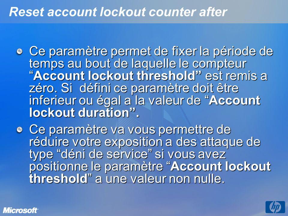 Reset account lockout counter after Ce paramètre permet de fixer la période de temps au bout de laquelle le compteurAccount lockout threshold est remi