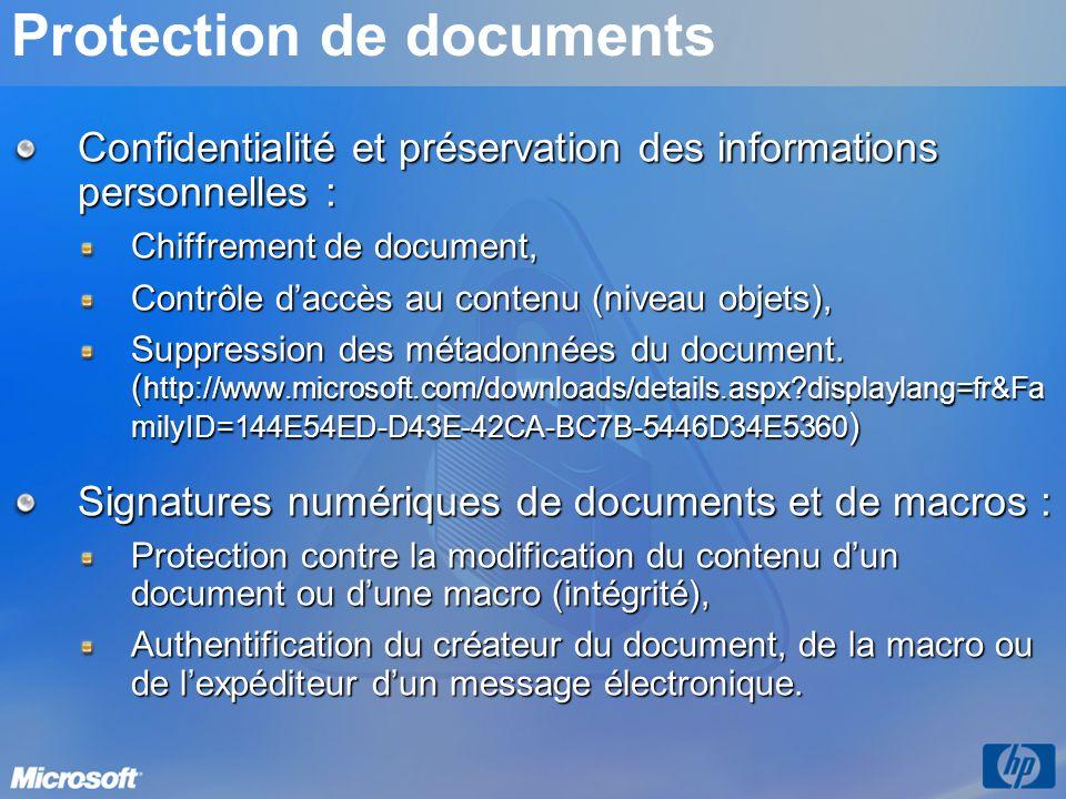 Protection de documents Confidentialité et préservation des informations personnelles : Chiffrement de document, Contrôle daccès au contenu (niveau ob