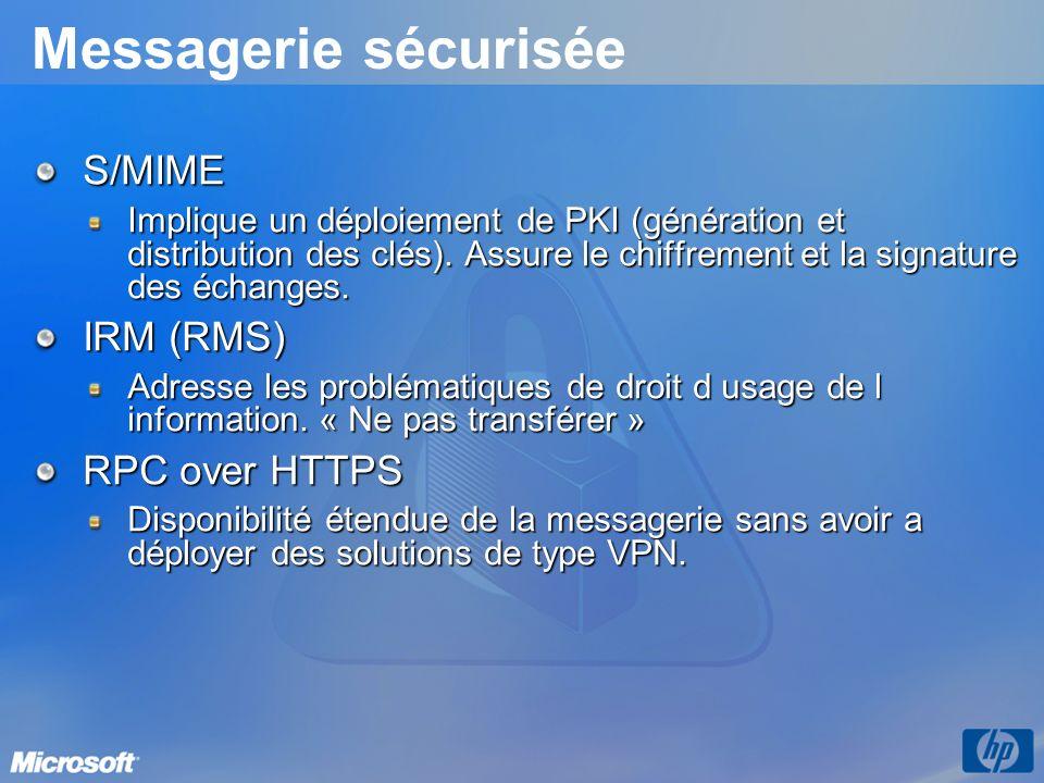 Messagerie sécurisée S/MIME Implique un déploiement de PKI (génération et distribution des clés). Assure le chiffrement et la signature des échanges.