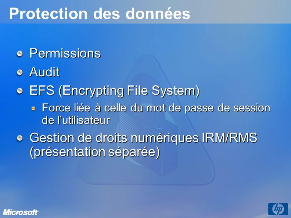 Protection des données PermissionsAudit EFS (Encrypting File System) Force liée à celle du mot de passe de session de lutilisateur Gestion de droits n
